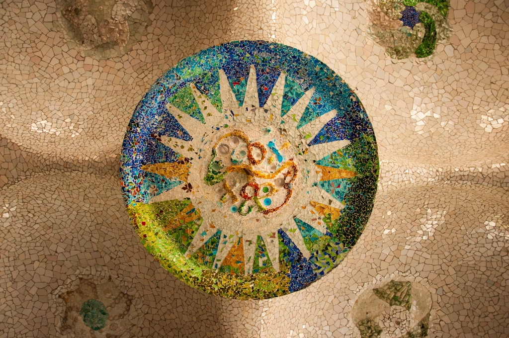 Mosaic on the ceiling of the hypostyle room, Park Güell, Barcelona