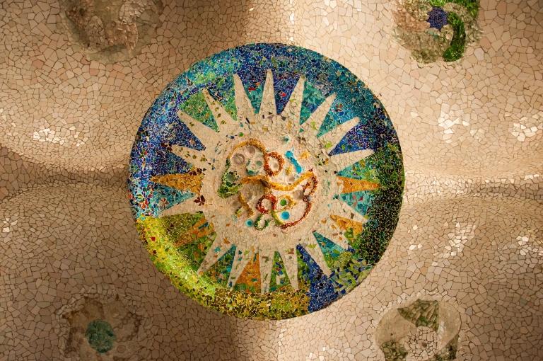 Mosaic on the ceiling of the hypostyle room, Park Güell, Barcelona
